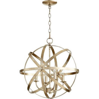 Dian 4-Light Candle-Style Chandelier Finish: Aged Silver Leaf