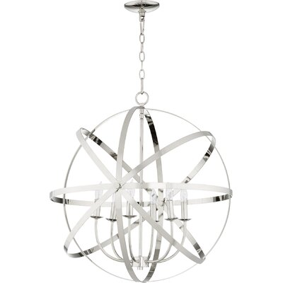 Dian 6-Light Metal Candle-Style Chandelier Finish: Polished Nickel