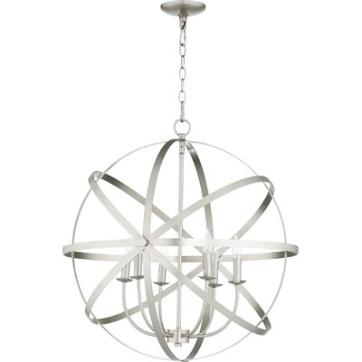 Dian 6-Light Metal Candle-Style Chandelier Finish: Satin Nickel