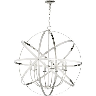 Dian 8-Light Candle-Style Chandelier Finish: Polished Nickel