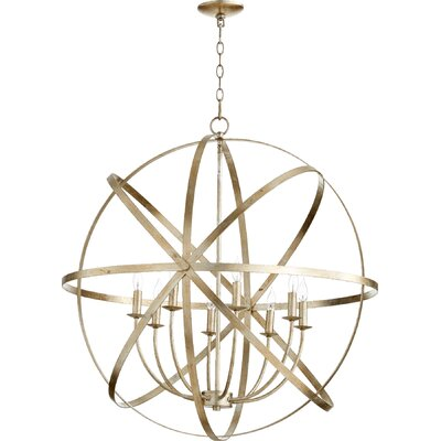 Dian 8-Light Candle-Style Chandelier Finish: Aged Silver Leaf