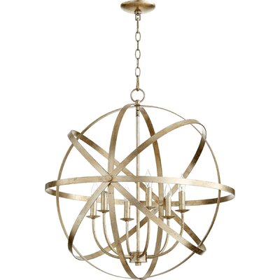 Dian 6-Light Metal Candle-Style Chandelier Finish: Aged Silver Leaf