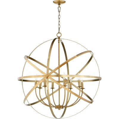 Dian 8-Light Candle-Style Chandelier Finish: Aged Brass