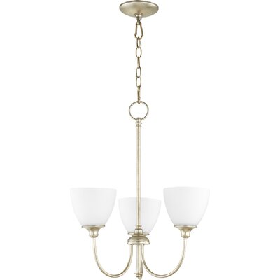 Dian 3-Light Shaded Chandelier Finish: Aged Silver Leaf