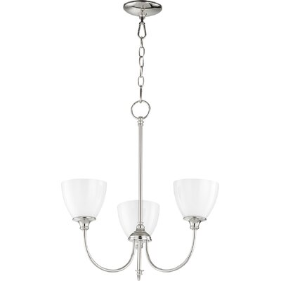 Dian 3-Light Shaded Chandelier Finish: Polished Nickel