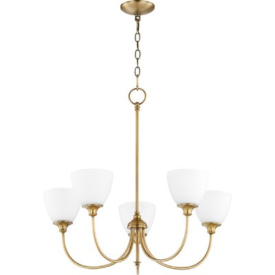 Dian 5-Light Shaded Chandelier Finish: Aged Brass
