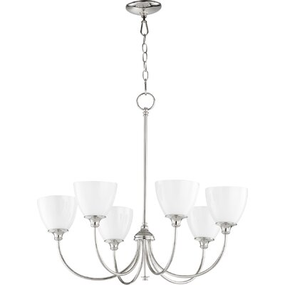 Dian 6-Light Shaded Chandelier Finish: Polished Nickel