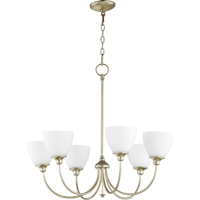 Dian 6-Light Shaded Chandelier Finish: Aged Silver Leaf