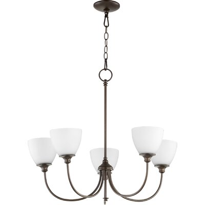 Dian 5-Light Shaded Chandelier Finish: Oiled Bronze