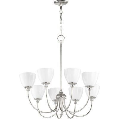 Dian 8-Light Shaded Chandelier Finish: Polished Nickel