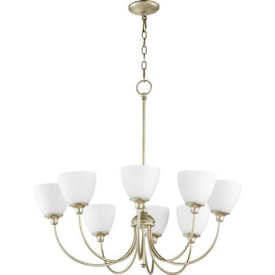 Dian 8-Light Shaded Chandelier Finish: Aged Silver Leaf