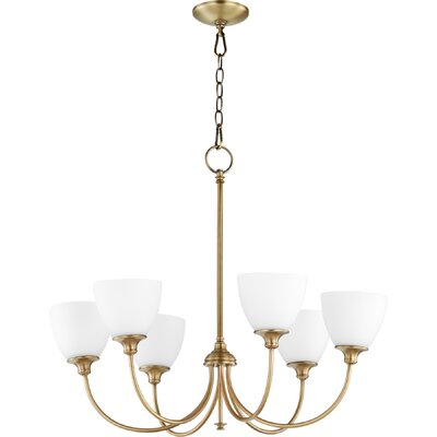 Dian 6-Light Shaded Chandelier Finish: Aged Brass