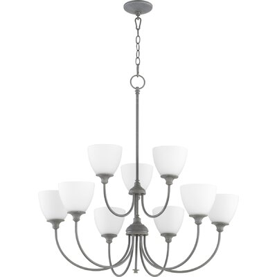 Dian 9-Light Shaded Chandelier Finish: Zinc