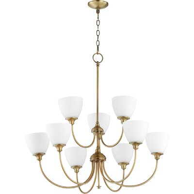 Dian 9-Light Shaded Chandelier Finish: Aged Brass