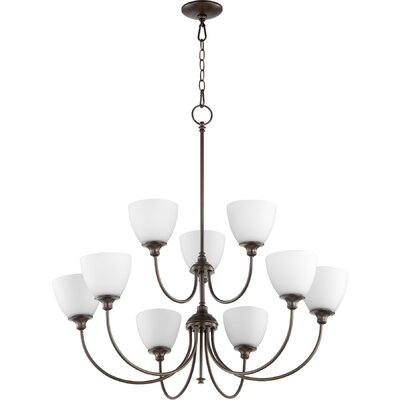 Dian 9-Light Shaded Chandelier Finish: Oiled Bronze
