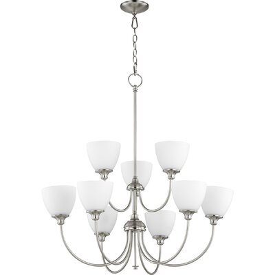 Dian 9-Light Shaded Chandelier Finish: Satin Nickel