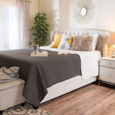 Hughes Queen Upholstered Platform Bed Color: Ivory