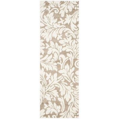 Maritza Floral Wheat/Beige Indoor/Outdoor Area Rug Rug Size: Runner 23 x 7