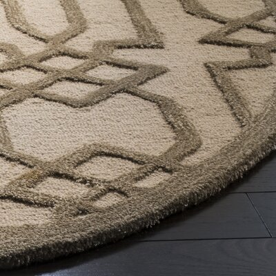 Mcguire Hand-Tufted Sand/Brown Area Rug Rug Size: Round 5