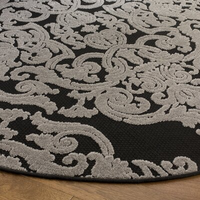 Mira Black Indoor/Outdoor Area Rug Rug Size: Round 67 x 67