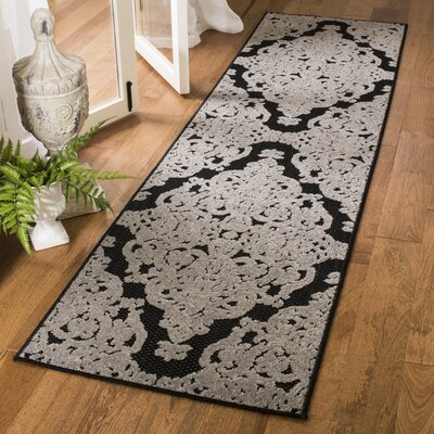 Mira Black Indoor/Outdoor Area Rug Rug Size: Runner 23 x 8