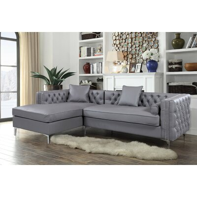 Neysa Contemporary Sectional Upholstery: Gray, Orientation: Left Hand Facing