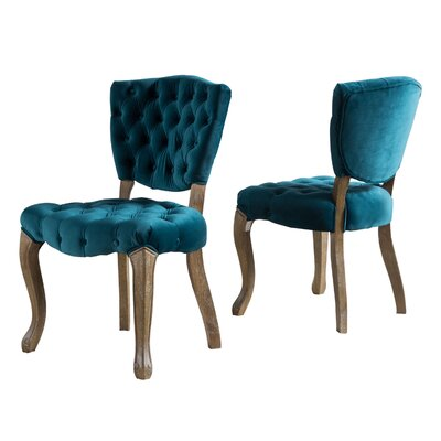 Boyles Upholstered Dining Chair Upholstery Color: Dark Teal