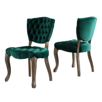 Boyles Upholstered Dining Chair Upholstery Color: Dark Green