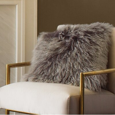 Becky Mongolian Fur Throw Pillow Color: Charcoal, Size: 20  x 20