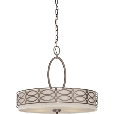 Helina 4-Light Drum Pendant Finish / Shade Finish: Hazel Bronze / Khaki Fabric