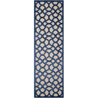 Stanhope Ivory/Blue Area Rug Rug Size: Runner 22 x 7