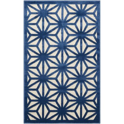 Stanhope Geometric Ivory/Blue Area Rug Rug Size: Rectangle 26 x 4