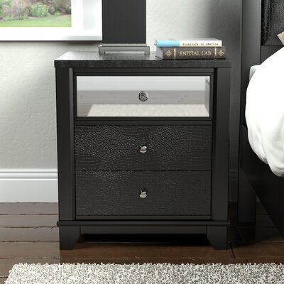 Zadok 3 Drawer Nightstand Color: Black