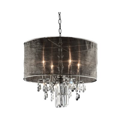 Ruggero 4-Light Drum Crystal Pendant