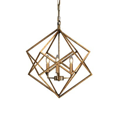 Ojas Geometric 3-Light Candle-Style Chandelier