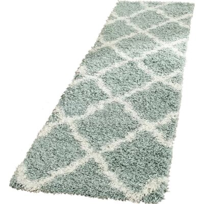 Charmain Light Blue/Ivory Area Rug Rug Size: Runner 23 x 10