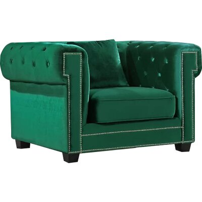 Hilaire Chesterfield Chair Upholstery: Green