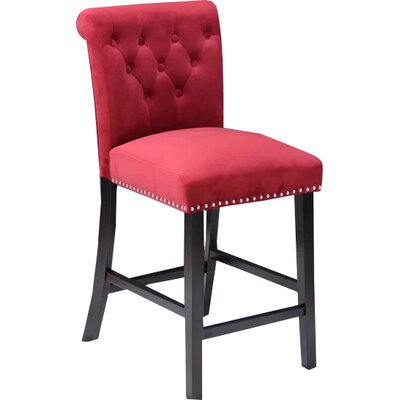 Erling Velvet Counter 26 Bar Stool Upholstery: Deep Red Velvet