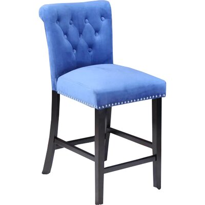 Erling Velvet Counter 26 Bar Stool Upholstery: Sky Blue Velvet