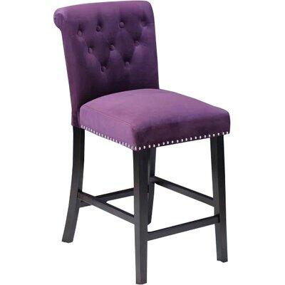 Erling Velvet Counter 26 Bar Stool Upholstery: Plum Wine Velvet
