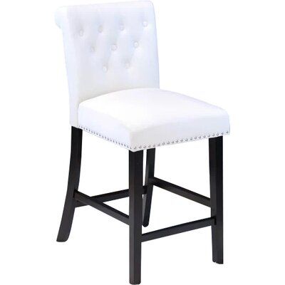 Erling Velvet Counter 26 Bar Stool Upholstery: White Velvet