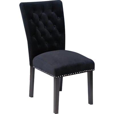 Erling Velvet Side Chair Upholstery: Black Velvet
