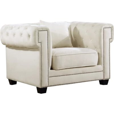 Hilaire Chesterfield Chair Upholstery: Cream