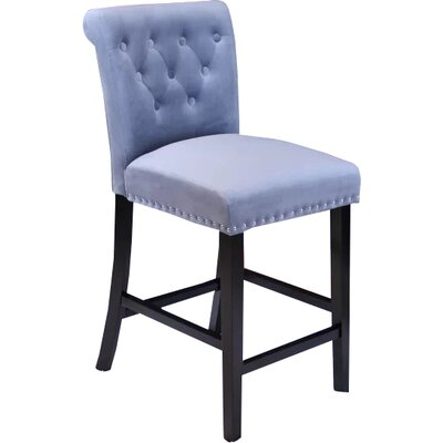 Erling Velvet Counter 26 Bar Stool Upholstery: Sharkfin Gray