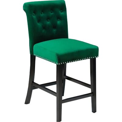 Erling Velvet Counter 26 Bar Stool Upholstery: Emerald Green Velvet