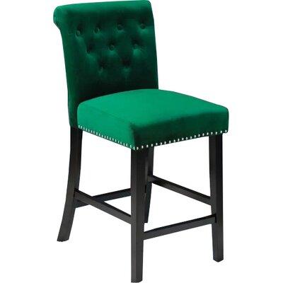 Erling Velvet Counter 26 Bar Stool Upholstery: Emerald Green Velvet