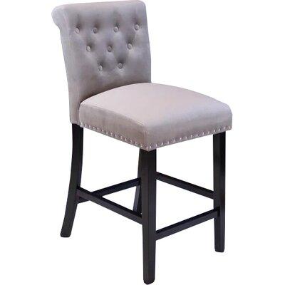 Erling Velvet Counter 26 Bar Stool Upholstery: Taupe