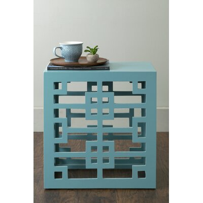Deverell Rectangular End Table Color: Aqua