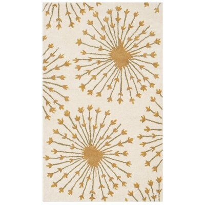 Mcguire Hand-Tufted Wool Beige/Gold Tribal Area Rug Rug Size: Rectangle 3 x 5