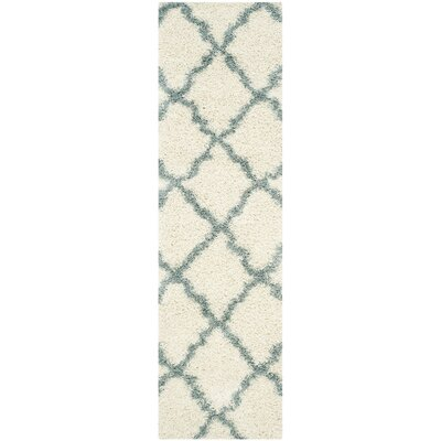 Charmain Ivory/Light Blue Area Rug Rug Size: Runner 23 x 8